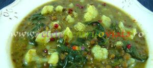 Reteta de supa de linte cu conopida, spanac si curry