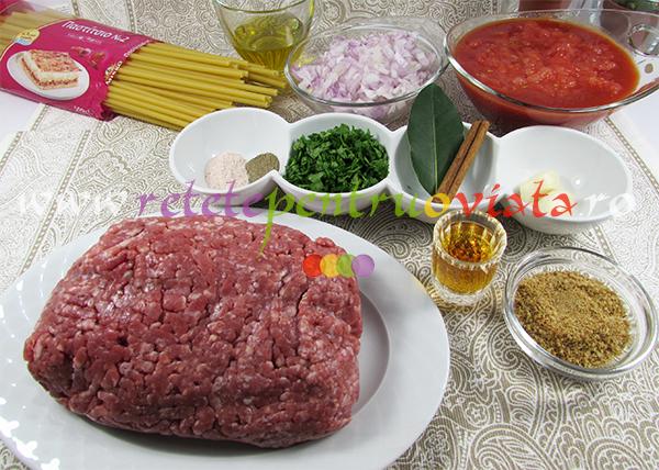 Ingrediente pentru reteta de paste cu carne tocata - pastitsio