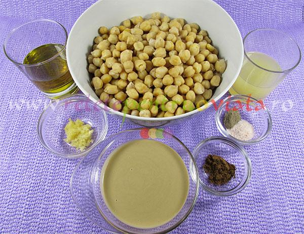 Ingrediente pentru reteta de humus (pate de naut