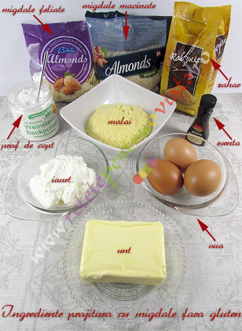 Ingrediente pentru reteta de prajitura cu migdale fara gluten
