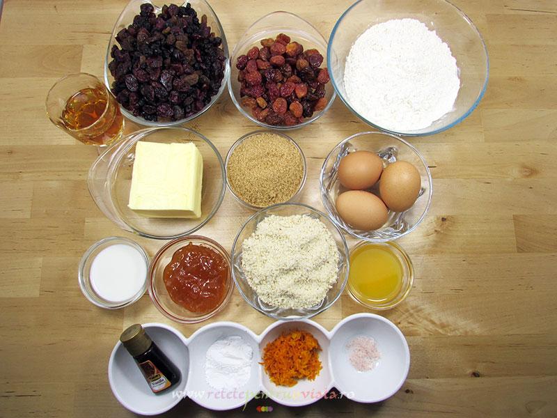 Ingrediente reteta chec cu fructe confiate
