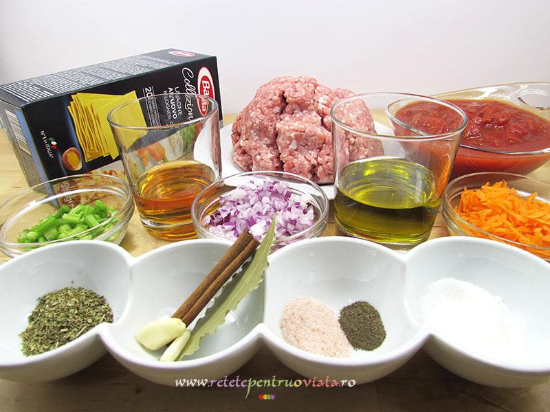 Ingrediente pentru reteta de lasagna cu carne tocata