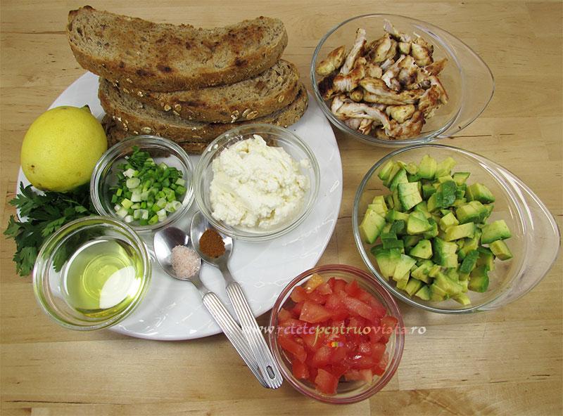 Ingrediente pentru reteta de sandwich cu pui si avocado