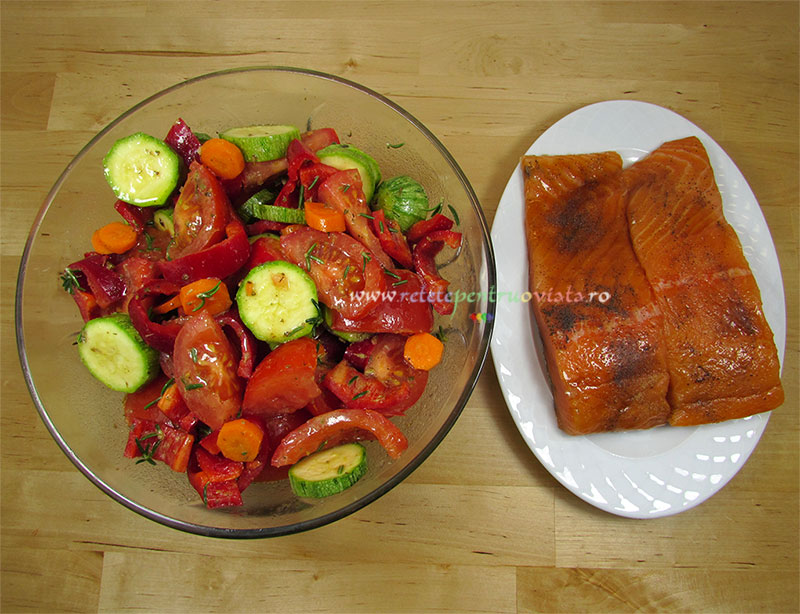 Ingrediente pentru reteta de somon cu legume la cuptor