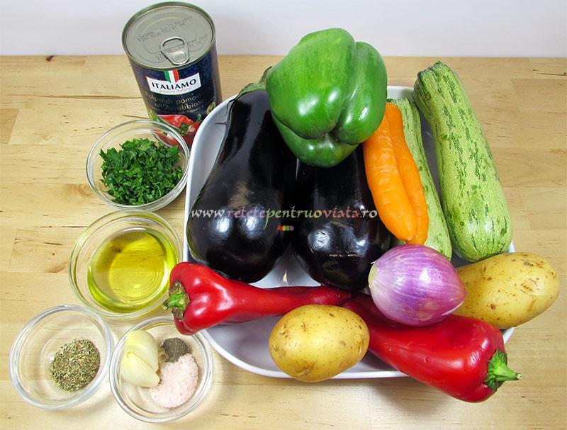 Ingrediente pentru reteta de ghiveci de legume cu branza feta