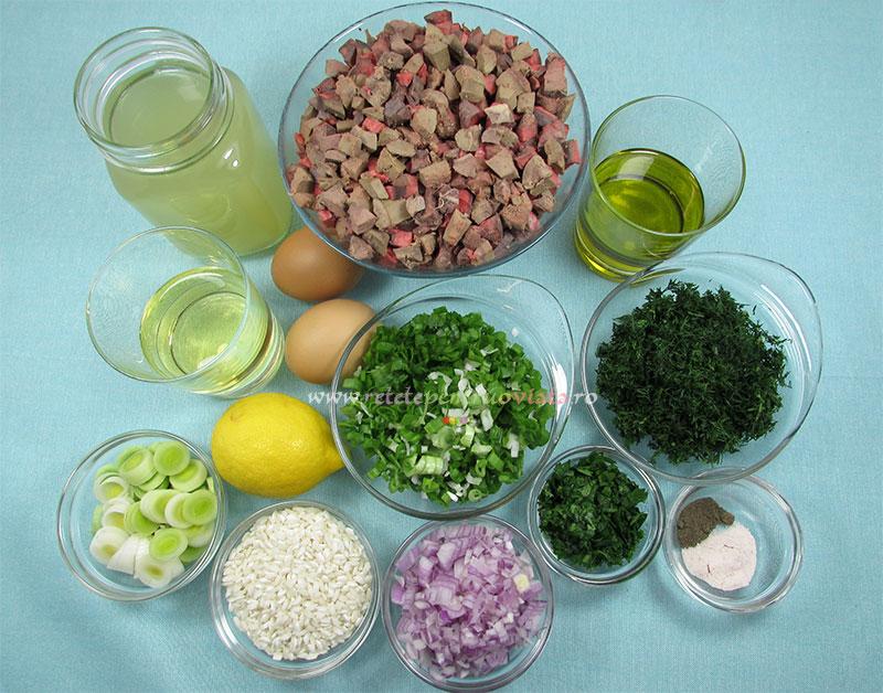 Ingrediente pentru reteta de ciorba de maruntaie de miel