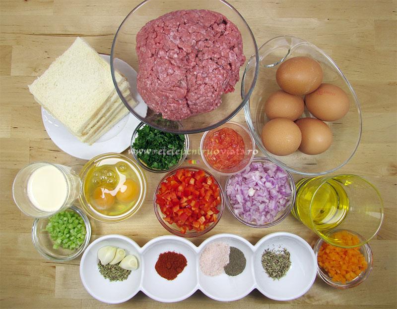 Ingrediente pentru reteta de rulada de carne tocata cu glazura dulce-picanta