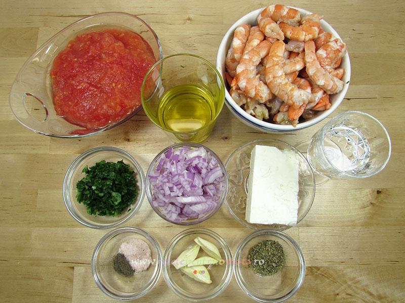Ingrediente pentru reteta de creveti la tigaie cu sos de rosii