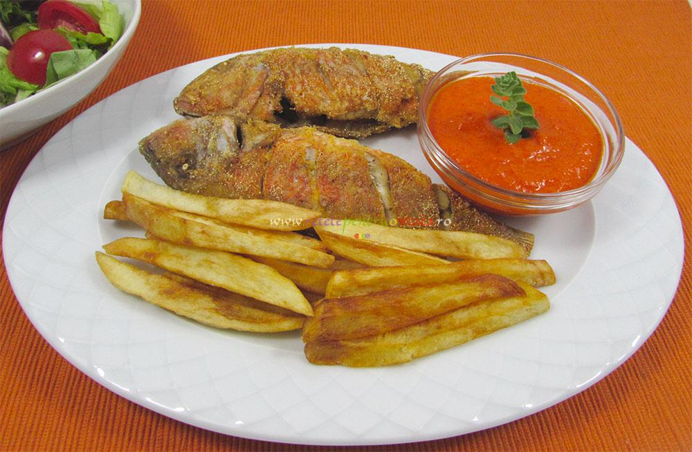 Peste Prajit cu Cartofi si Sos Dulce Acrisor poza 3